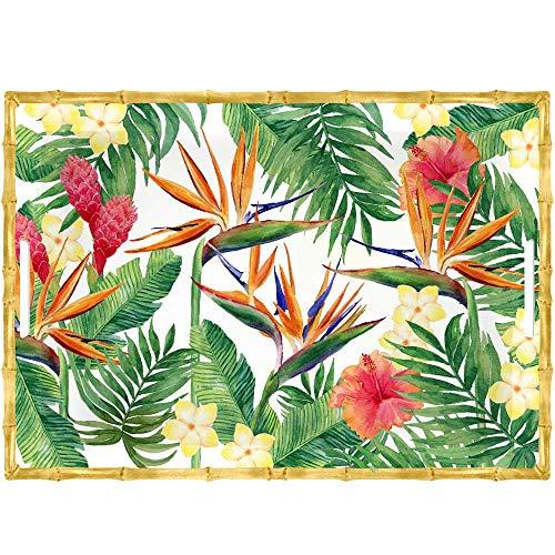 Les Jardins de la Comtesse - Grand Plateau Rectangulaire en Mélamine Contour Bambou - Fleurs Exotiques - 50 cm – Rouge Vert - Grand Plateau de Service Collection Vaisselle Quasi-Incassable MelARTmine