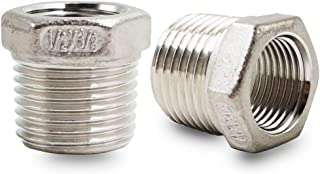 Horiznext 1/2 to 3/8 inch Stainless Steel reducing Bushing (Pack of 2)