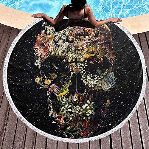 Duanrest strandhanddoek deken Smyrna schedel bloemen zwembad strand yoga picknick tapijt mat volwassenen 59 inch