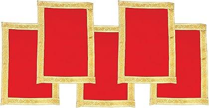 Shubhkart Velvet Aasan, Velvet Cloth, Red, 6.69 X 9.53 X 0.39 Inches