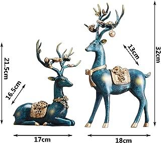 MLXG Creative Couple Deer Figurine, Indoor Dsektop Sculpture Statue Resin Art Ornaments Room Crafts Great Gift for Parents Lover-u