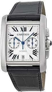 Cartier Tank MC Chronograph Silver Dial Black Leather Ladies Watch W5330007