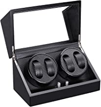 Black Watch Winder for Automatic Watches with Quiet Motors, Portable Organizer Storage Watch Display Case Boxpower by AC Adapter or Battery