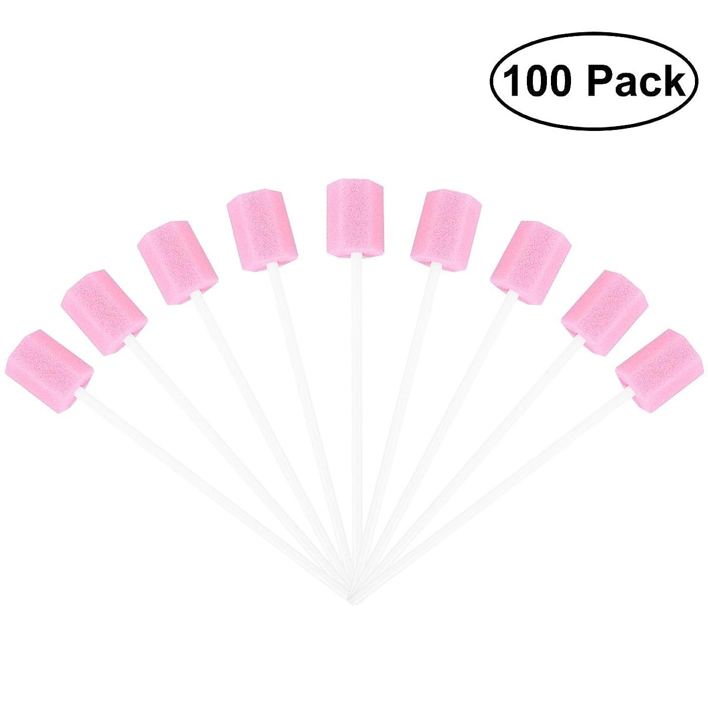 要求カレンダー嫌悪ROSENICE 使い捨てオーラルケアスポンジスワブ歯口洗浄スワブ100個(ピンク)