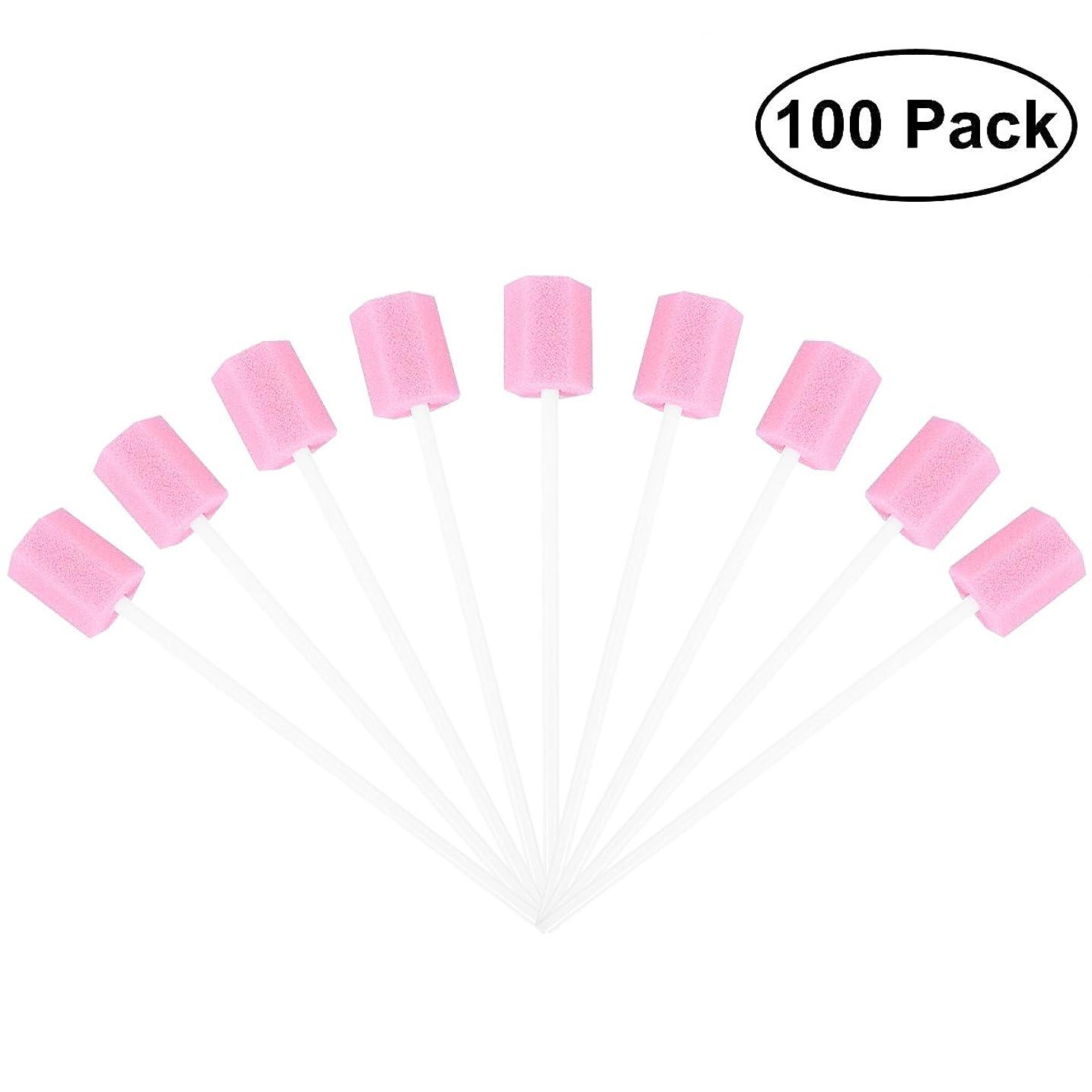 撃退する不正高揚したROSENICE 使い捨てオーラルケアスポンジスワブ歯口洗浄スワブ100個(ピンク)