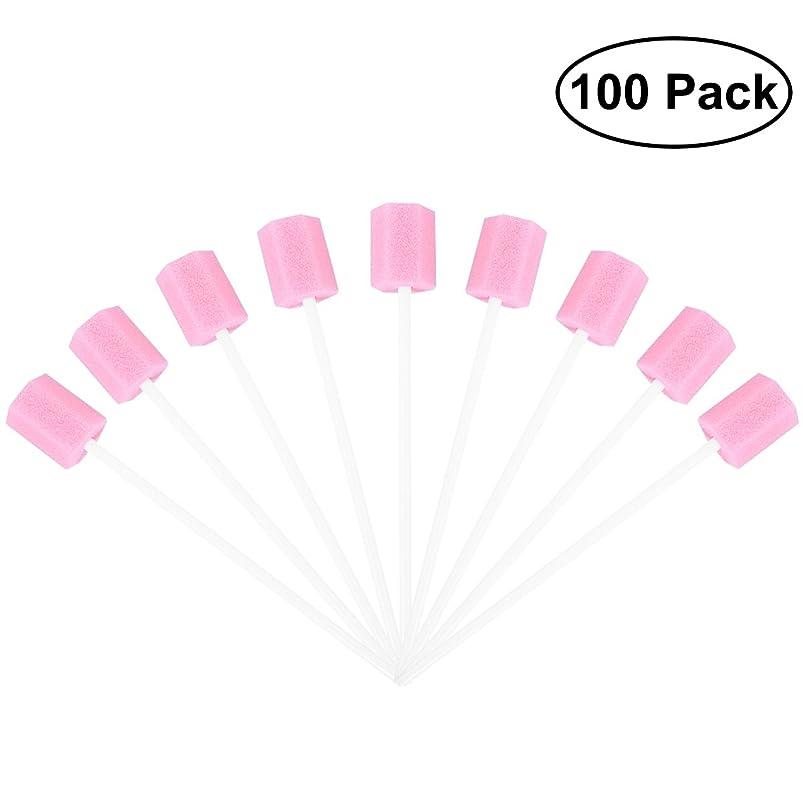 ペダル収入伝記ROSENICE 使い捨てオーラルケアスポンジスワブ歯口洗浄スワブ100個(ピンク)