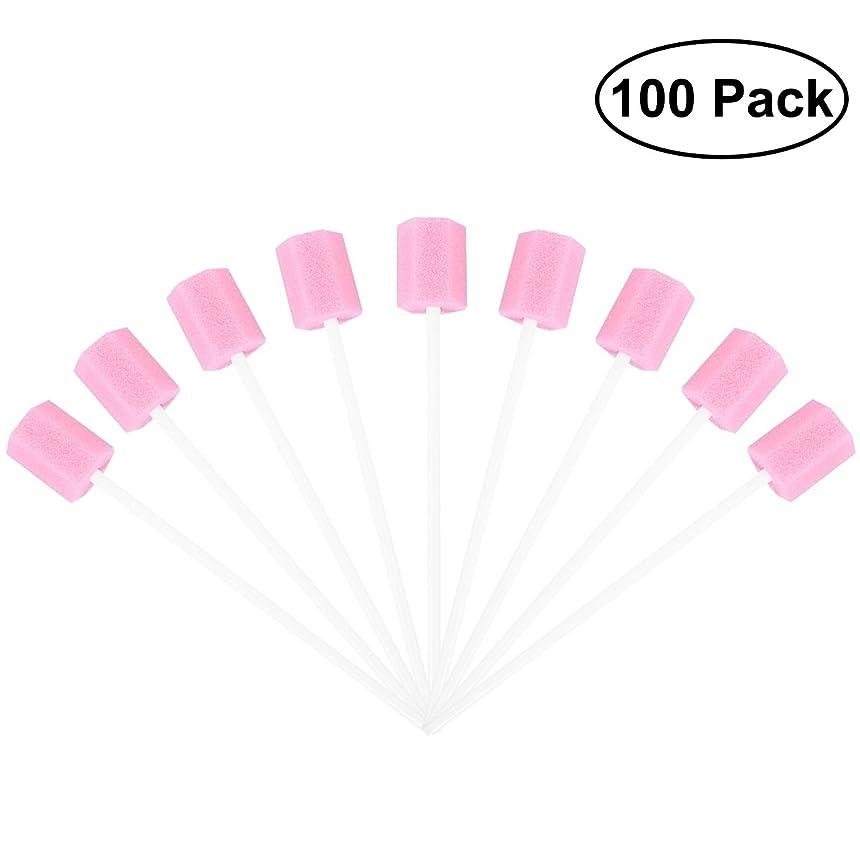 保存薄める居住者ROSENICE 使い捨てオーラルケアスポンジスワブ歯口洗浄スワブ100個(ピンク)
