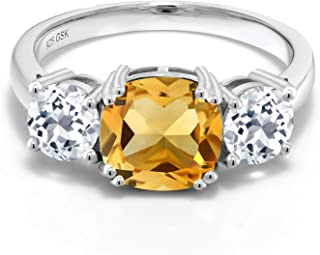 925 Sterling Silver Yellow Citrine and White Topaz Women Meghan Ring (4.00 Cttw Cushion Cut, Available in size 5, 6, 7, 8, 9)