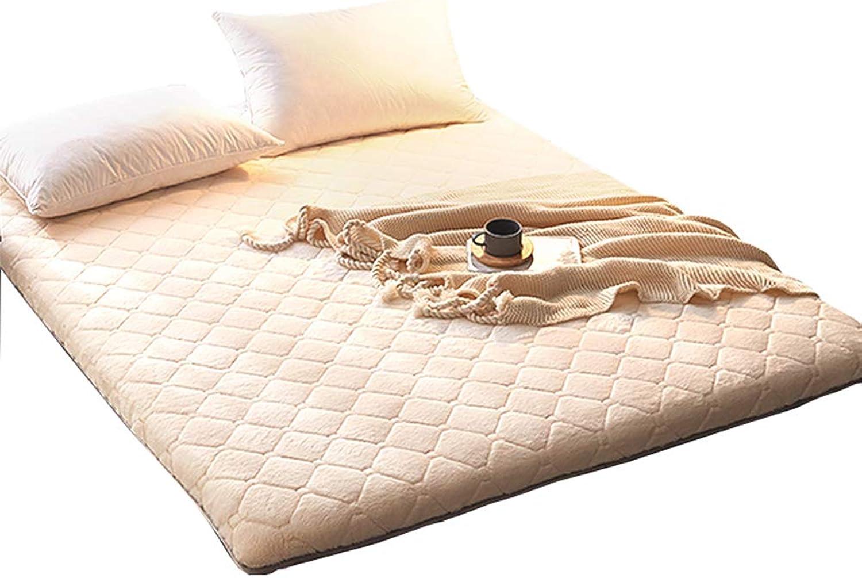 Thick 5cm Mattress pad Predector Futon Tatami mat Sleeping Not stuffy, Non-Slip Tatami Floor Mattress Topper Anchor Straps Hypoallergenic-Light tan 90x200cm(35x79inch)