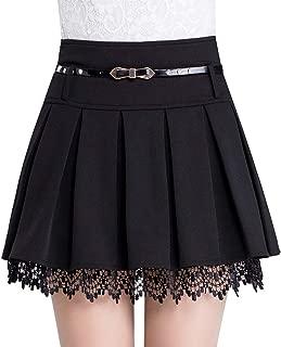 Women's A-Line Short Plaid Pleated Skirt Side Zipper