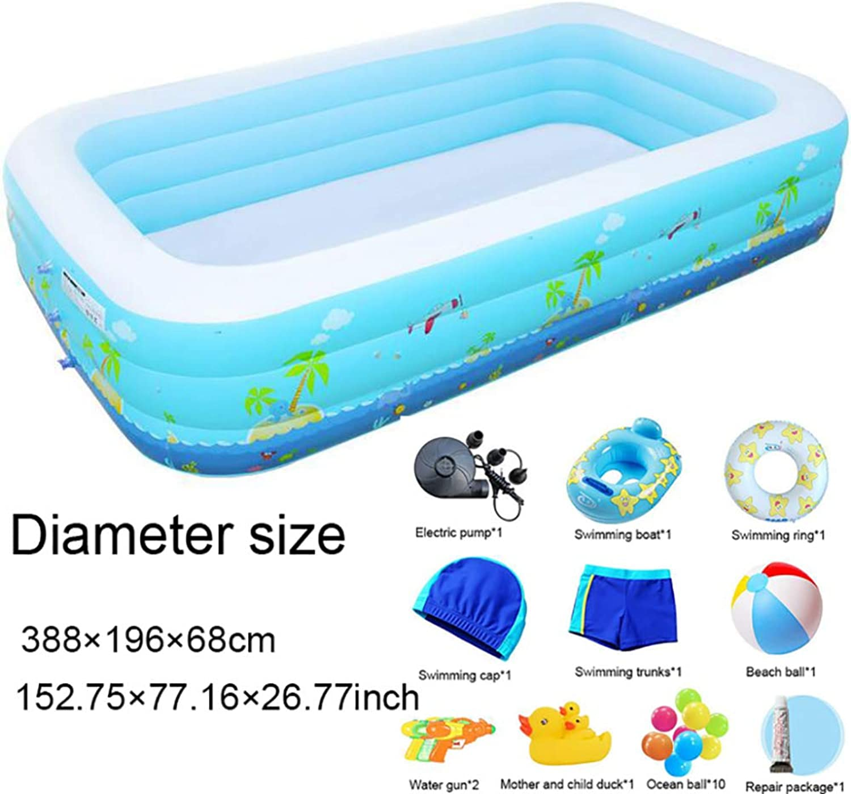 QIAOY Riesenschwimmbad Mit DREI Ringen 388 × 196 × 68 cm Schwimmen Sie Strand Spielzeug Mit Elektrischer Luftpumpe Aufblasbarer Baby-Schwimmring Familien-aufblasbares Planschbecken