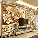 Lifme Custom Photo Wallpaper 3D Embossed Gold Jewelry Flower Mural European Style Living Room Tv Background Wall Painting Luxury Decor-150X120Cm
