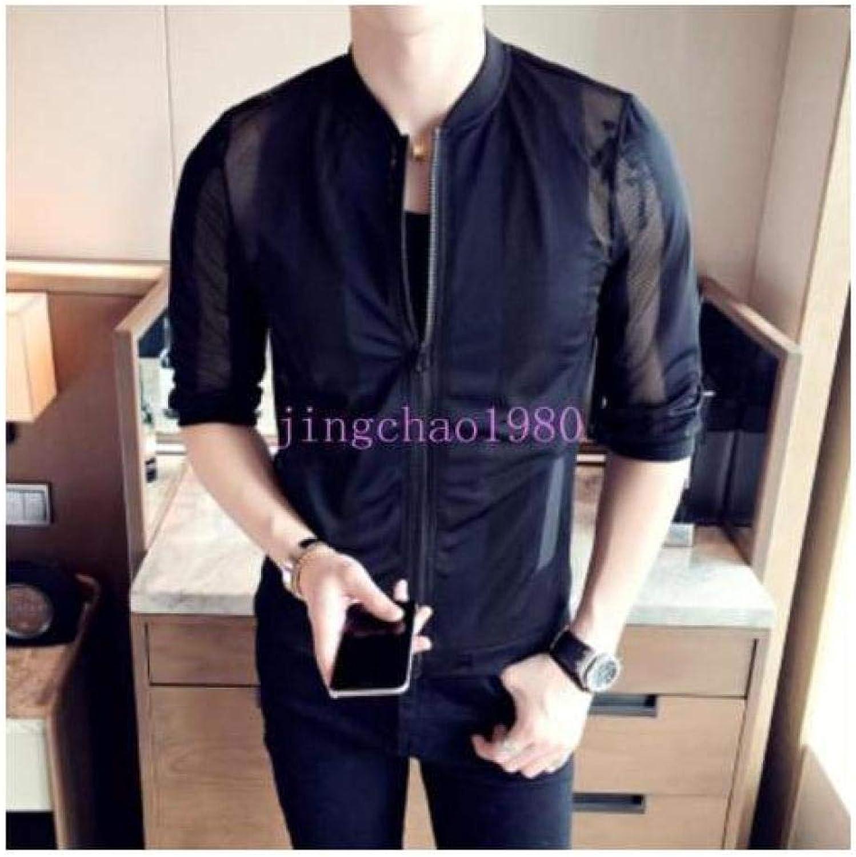 ed17fc9e9 FidgetFidget Men Korean Korean Korean Jacket Coat Sport Boys College Summer Slim  Fit Outwear Sleeve Ch 2017 Black US XXL=Asia 4XL f0e5bd