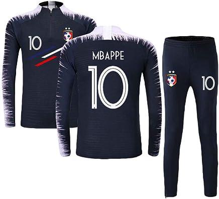 France Football T-Shirt Coupe du Monde 2018 France 2 /Étoiles Adulte Enfant Sports Football T-Shirt Shorts HAOHAOWU Maillots De Football