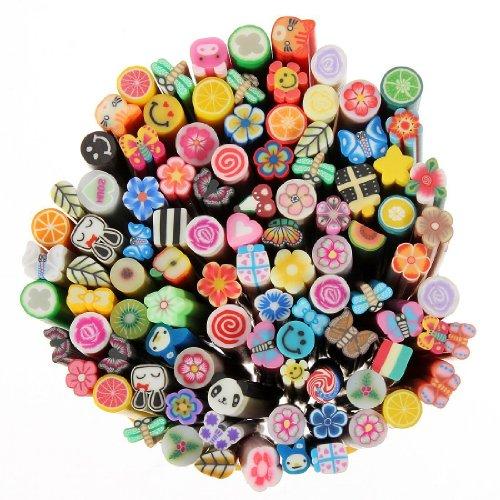 Lot De 100 Bâton Cane Nail Art Fimo Ongle Déco Polymere Canne Canes Cannes + Lame Offerte