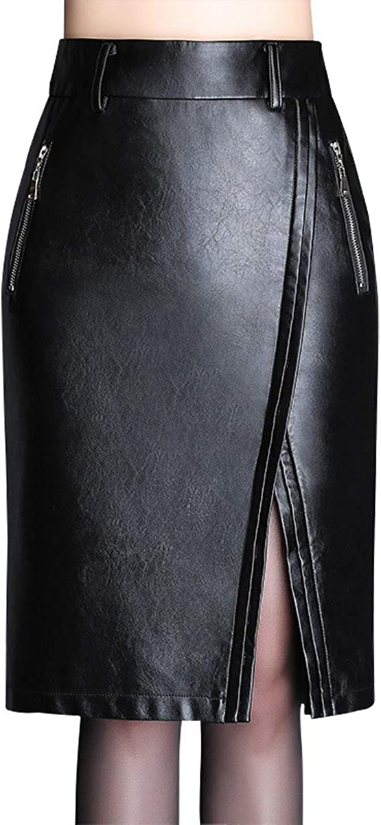 Wincolor Women's Faux Leather PU Midi Skirt High Waisted Knee Length Spilit Straight Skirts Office Wear to Work