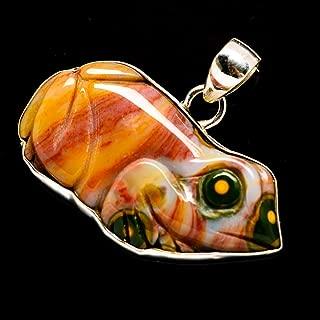 Co Ocean Jasper Frog 925 Sterling Silver Pendant 1 1/4