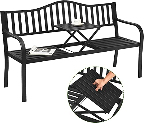 high quality Giantex Patio Bench w/Pullout Middle Table, Outdoor Benches, Garden Bench, Front Porch Bench, Pool Deck Bench, Loveseat Chair, Patio Seating for 2-3 Person, Metal Benches for online online sale Outside (Black) outlet sale