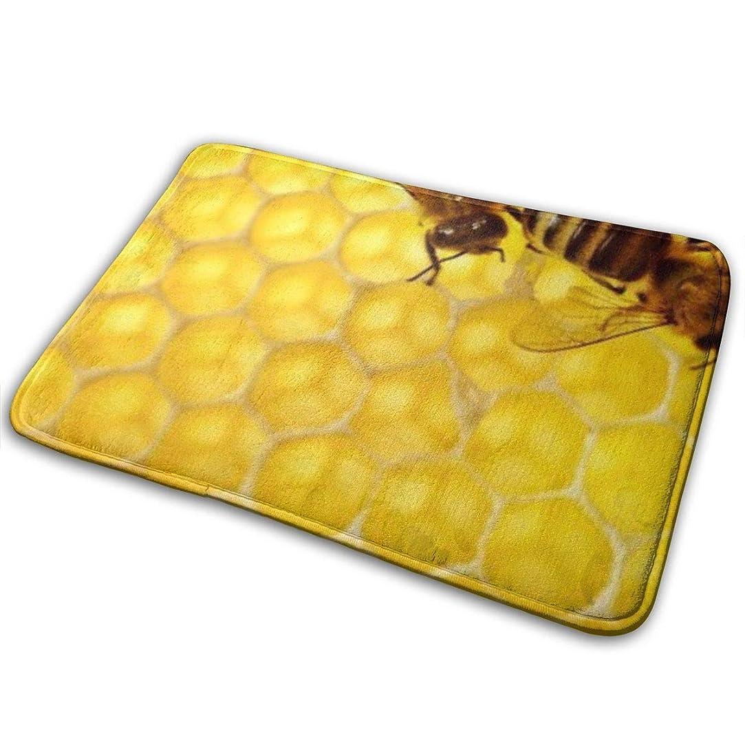 排他的放射性ピザハニカム蜂蜂蜜楽しい歓迎玄関パーソナライズ屋内床マットリビングルームの寝室浴室ドアマット23.6 x 15.8インチ