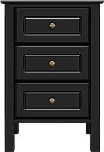 YAHEETECH Wood 3-Drawer Nightstand with Solid Pine Wood Legs Bedroom Furniture, Black