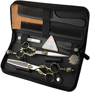 6インチ美容院プロフェッショナル理髪セット、レトロハンドルはさみフラットシザー+歯シザーツールセット モデリングツール (色 : ゴールド)
