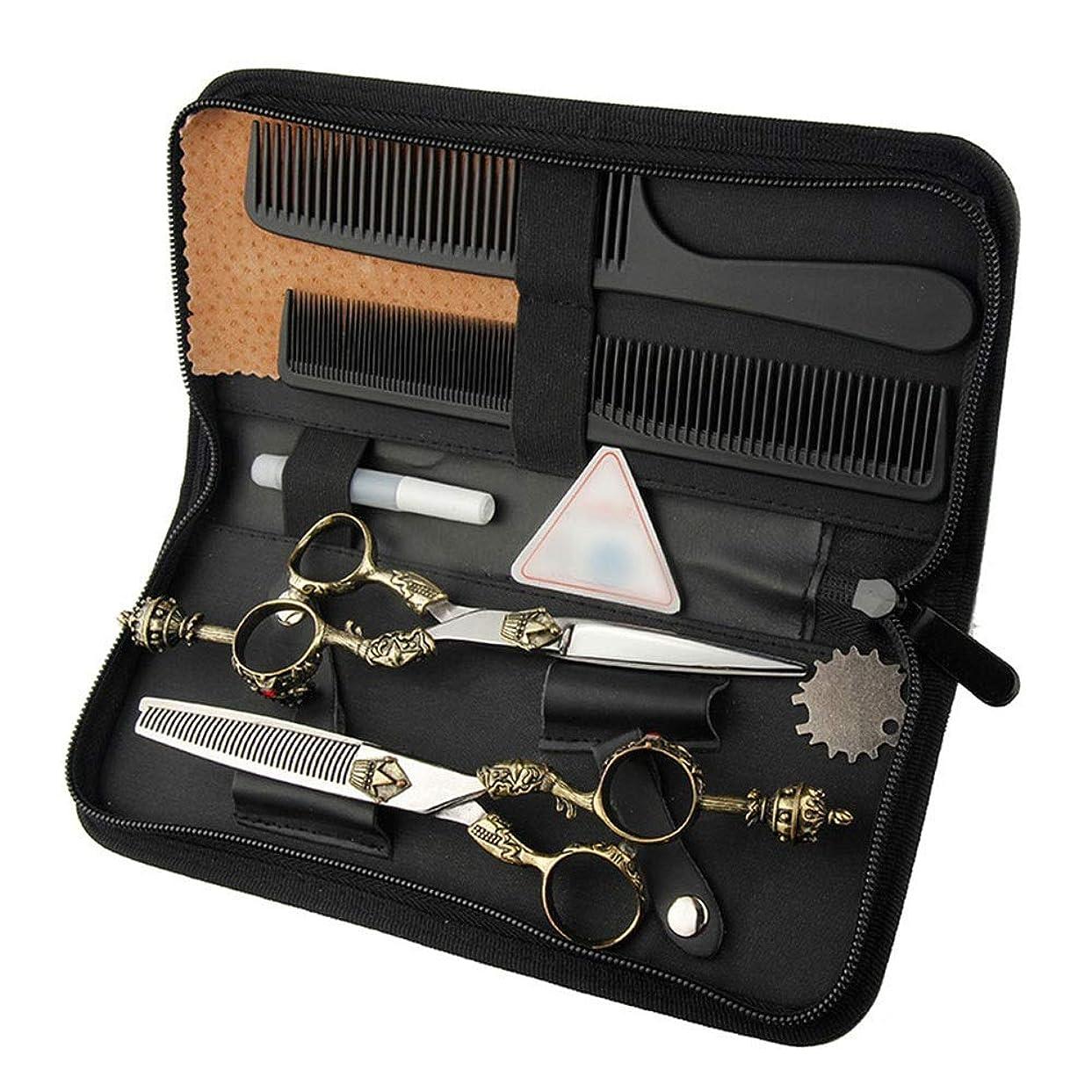擁する絶対の固体6インチ美容院プロフェッショナル理髪セット、レトロハンドルはさみフラットシザー+歯シザーツールセット モデリングツール (色 : ゴールド)