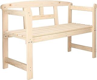 SPRINGOS Banco de madera con reposabrazos, para 2 personas, banco de jardín, 119 cm, estilo rústico, madera maciza