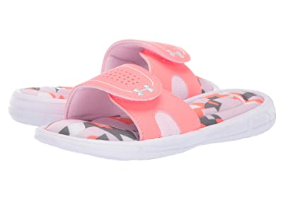 Under Armour Kids UA Ignite Jagger VIII Slide (Little Kid/Big Kid) (White/Arctic Pink/Fuse Teal) Girls Shoes