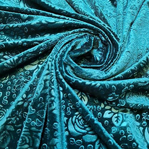 Textile Station Samtstoff mit Rosen-Motiv, geprägt, Meterware, 147,3 cm (Vorschnitt 1 Meter) dunkles Jadegrün