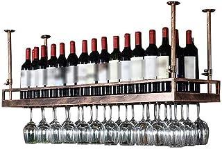 L.HPT Stockage de casier à vin, étagère de décoration de Plafond Suspendu en Fer Bronze de Style Moderne pour Cuisine de B...