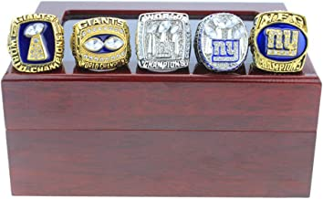 TWCUY New York Giants Championship Rings 5 Years Set Super Bowl 1986 1990 2000 2007 2011 Champions Ring for Fans