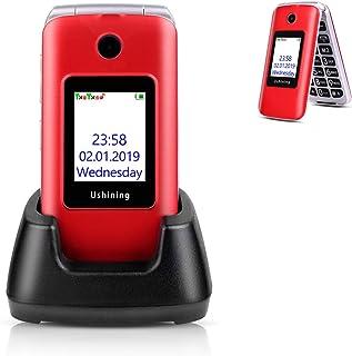 "Ushining 3G Unlocked Senior Flip Phone Dual SIM Card FM Radio GSM Unlocked Flip Phone 2.8"" LCD and Large Keypad with Charging Cradle (Red)"