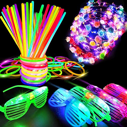 iGeekid 60 PCS Glow in The Dark Party Supplies Glow Sticks Bulk LED Party Favor Light Up Toys Kid/Adults 50 Glow Sticks Necklaces Bracelets/5 Light Up Glasses/Led Wreath,New Year Eve Decorations