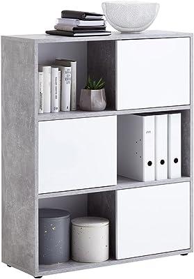 FMD Möbel Futura 1 Up 3-türiges Regal, Holz, beton / hochglanz weiß, 90 x 33 x 111 cm