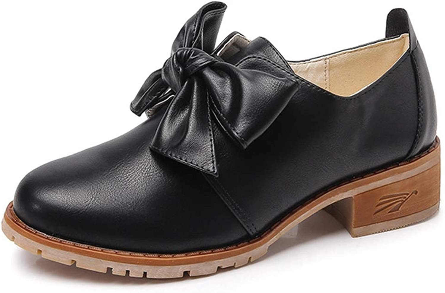CYBLING Womens Cute Bowknot Oxfords shoes Comfortable Round Toe Low Heel Loafers Dress shoes