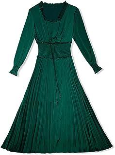 WYYY ドレス 夏の季節 ロングスカート ロングスリーブ O襟 フラッシング 純粋な色 グリーン セレブリティ シフォンドレス イブニングドレス (サイズ さいず : XL)