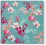 Servietten Blumen - 20 servilletas con estampado de magnolias en azul, estampado de flores para primavera o Pascua, 33 x 33 cm