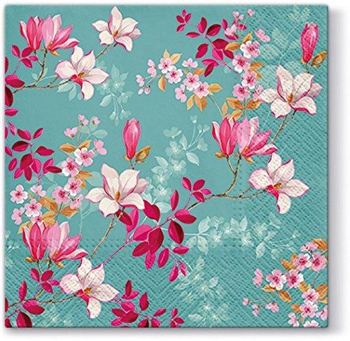 20 Servietten Magnolien auf blau / Blumen / Frühling / Ostern 33x33cm