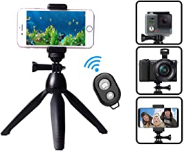 HUAY Mini Tripod, Cell Phone Stand,Lightweight Tabletop Small Phone Tripod for iPhone Samsung Huawei Smartphone, Camera with Bluetooth Remote Control, 180 Rotating Metal Ball Mount Holder