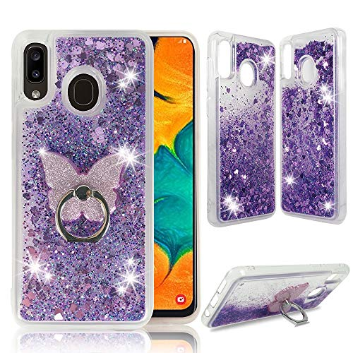 Samsung A20 A30 Clear Case, ZASE Liquid Glitter Sparkle Bling Compatible with Galaxy A20 A30 6.4inch Cute Girls Women Protective Durable Cover Floating Quicksand w/Phone Ring Grip Holder (Purple)