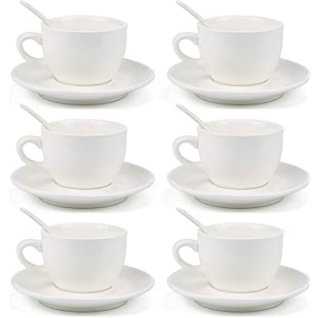 Kingrol 8 Ounce Porcelain Cappuccino Cups with Saucers and Spoons, Set of 6 Espresso Mugs for Latte, Mocha, Cappuccino and Tea