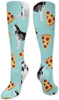Jennsala, Husky Pizza Cute Crew Sock Calcetines deportivos estampados para mujer y hombre 50 cm / 19.7 pulgadas