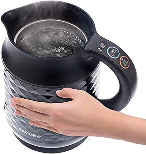 lowest Secura Cool Touch Precise Temperature 2021 Control 1.8Qt (7 Cups) Electric Water Kettle (Black)   1500W Strix Controls   Float Valve Technology discount   Quick Boil   8 Pre-sets (Black) online sale