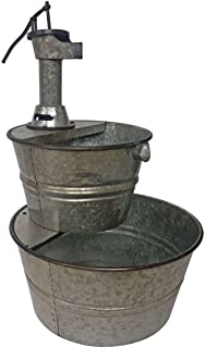 BACKYARD EXPRESSIONS PATIO · HOME · GARDEN 906029 Galvanized Two Tier Metal Barrel Pump Fountain, Silver