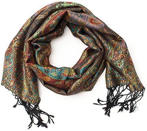 ufash Pashmina 100% Seidenschal aus Indien für Damen & Herren, Paisley Muster, 160 x 35 cm - Schal aus reiner Seide, Braun 2