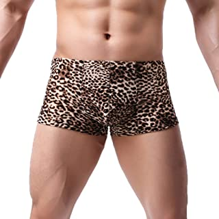 Deloito Men's Boxer Briefs Low Rise Comfortable Sexy Underwear Leopard Print Man Shorts Underpants