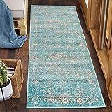 Carpeto Rugs Läufer Teppich Flur Vintage Muster - Küchenläufer, Flurläufer, Küche, Schlafzimmer - Teppichläufer in vielen Größen - Kurzflor Used Look in Türkis, Grösse: 80 x 250 cm