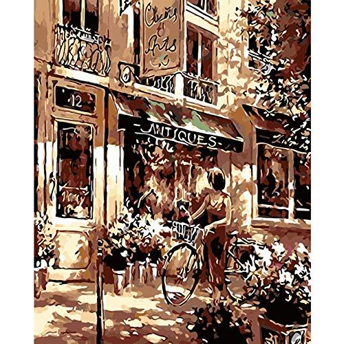 Damesfiets met digitaal schilderwerk, om zelf te maken op digitaal canvas, moderne muurschildering, Kerstmis, unieke decoratie voor de salon, cadeau, 40 x 50 cm