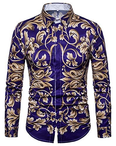 WHATLEES Herren Langarm Druckmuster Hemd - Dress Shirt mit Stehkragen Barock Stil B702-34-XL
