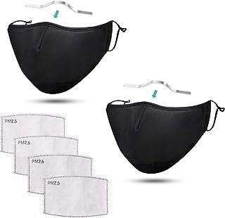 2 St. Mondkapjes met neusdraad en filtervak voor PM2.5 filter | Mondkapje wasbaar en herbruikbaar | Reusable Face mask | M...